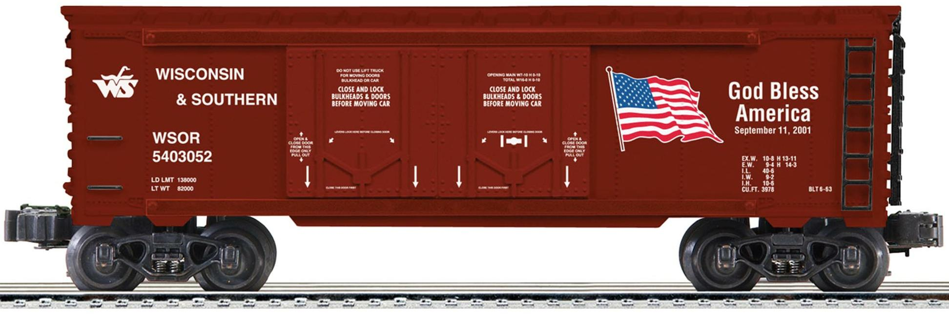 Wisconsin & Southern God Bless America Double Door Boxcar image