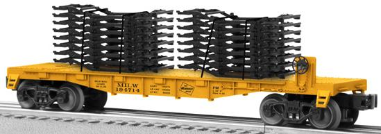Milw RR Flat Car with Auto Frame Load image