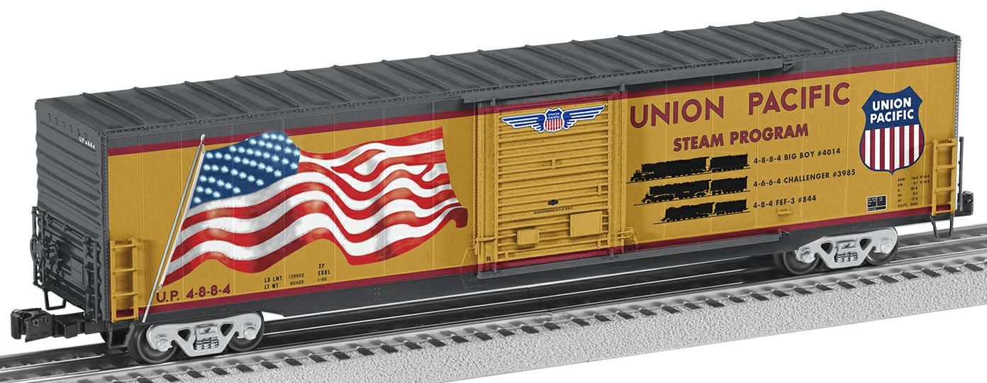"Union Pacific ""Steam Program"" Flag Boxcar image"