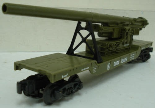 US Army Cannon Car / Depressed Center Flatcar with Cannon image