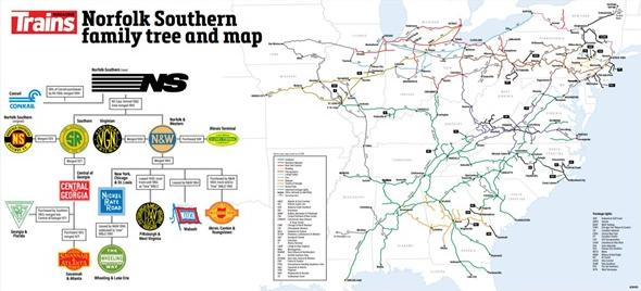 Railroad Map and Family Tree Poster – Norfolk Southern image