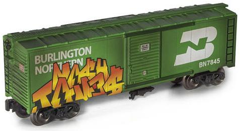 Burlington Northern Weathered Graffiti Boxcar image