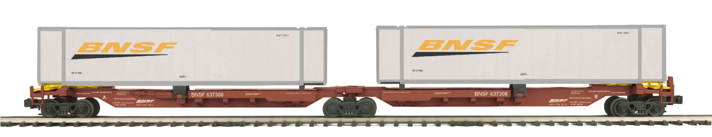 BNSF 2-Car Spine Car Set with (2) 48' Containers image
