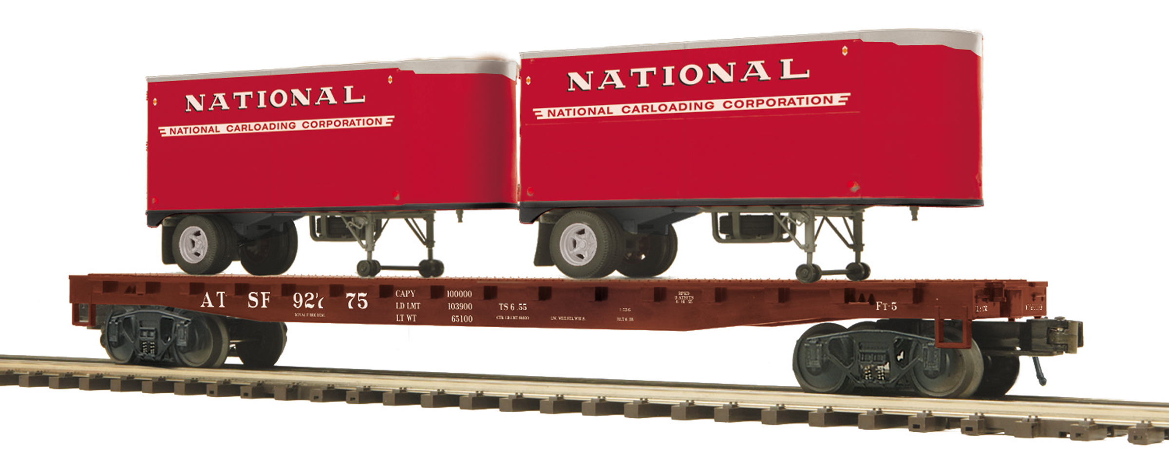 Santa Fe (National Trailer) Flat Car w/(2) PUP Trailers image