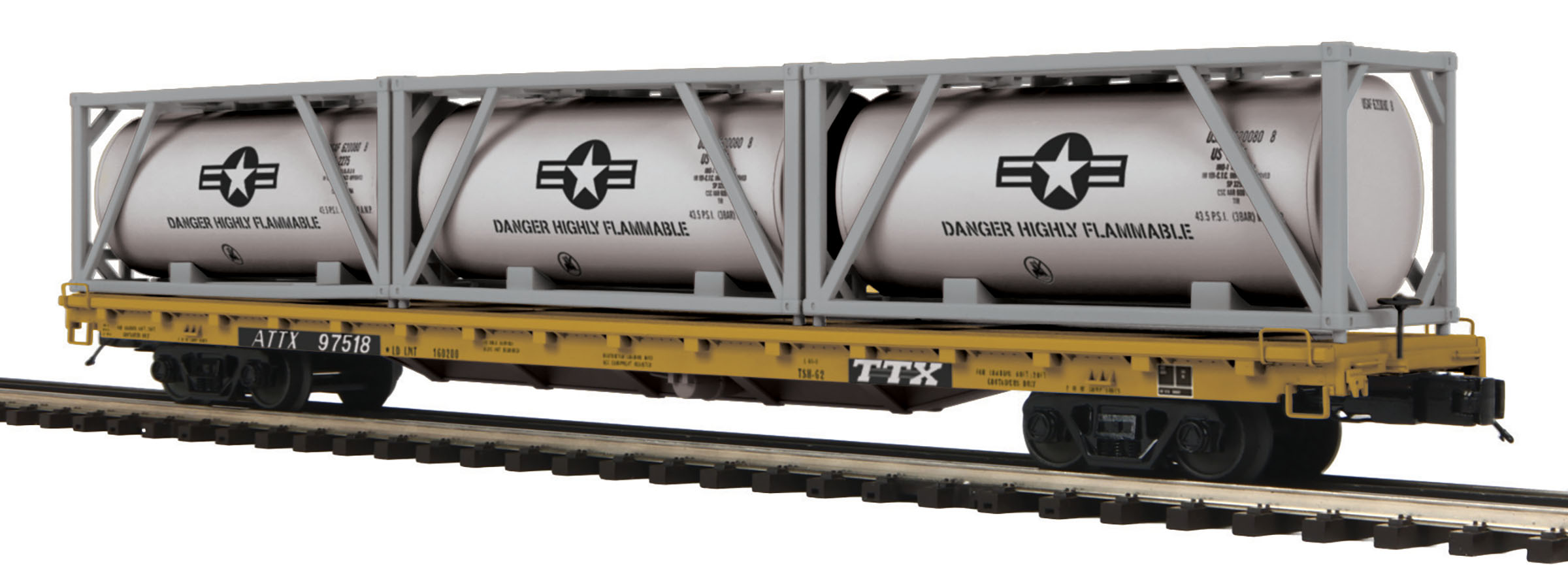 U.S. Air Force Rocket Fuel 60' Flat Car w/(3) Tank Containers image
