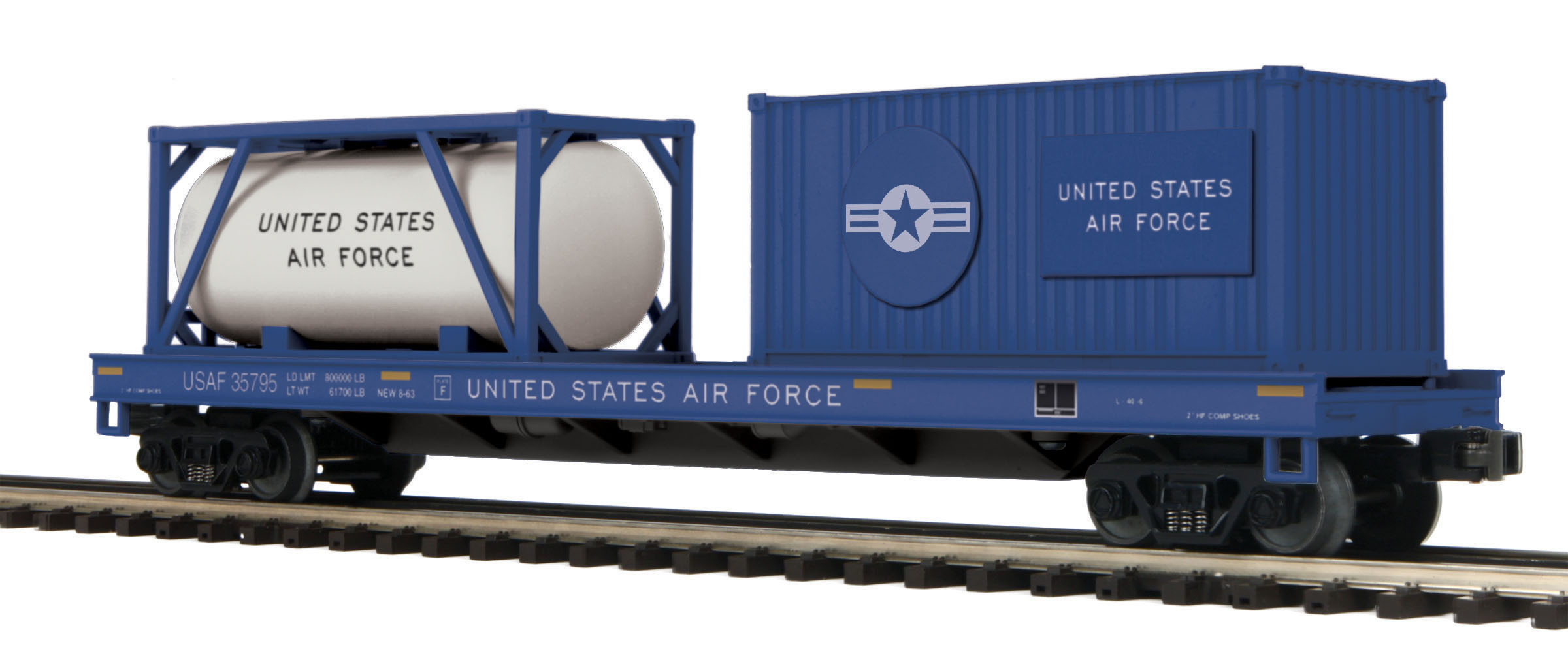 US Air Force Flat Car w/Tank Container and 20' Container image
