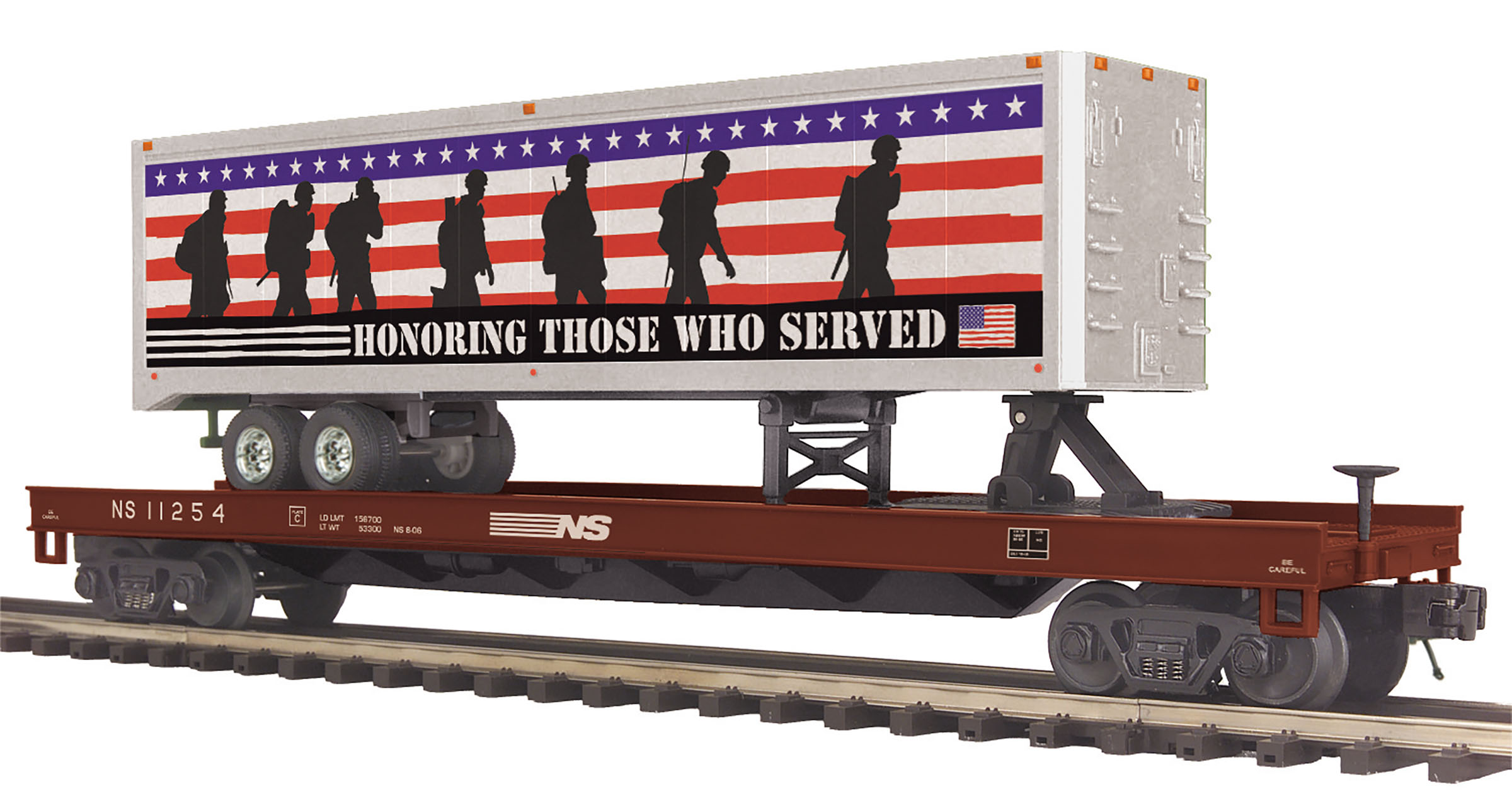 Norfolk Southern Flat Car w/40' Trailer (Honoring Those Who Served) image