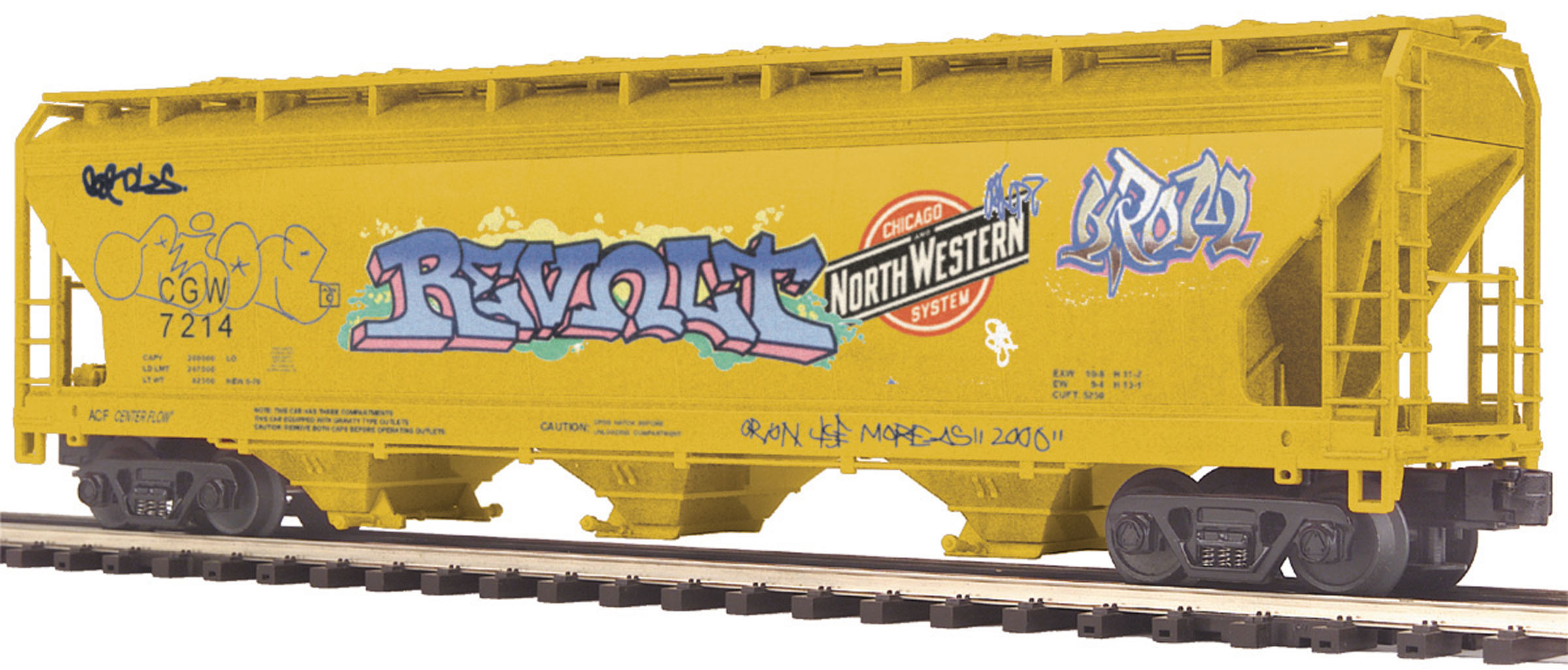 Chicago Great Western (Grafitti) 3-Bay Centerflow Hopper image